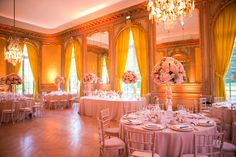 Pink Reception Decor France Destination Wedding - One and Only Paris Photography