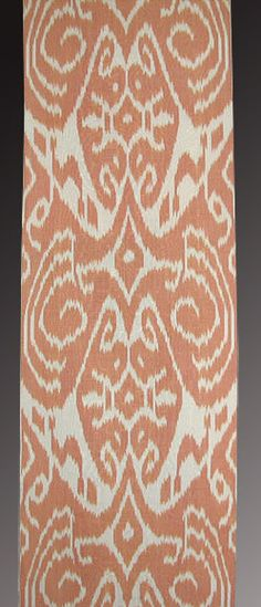 coral orange ikat fabric - love the large repeat