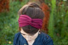 garnet Twist stretch headband in deep red- New Garlands of Grace hair accessory