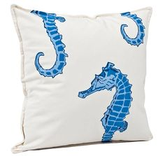 Washed cotton canvas Pillow Seahorse