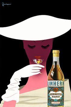 Stylish Linherr Vermouth vintage poster 1950s
