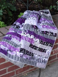 Purple and Gray Strip Quilt made by My Quilt Box on Etsy