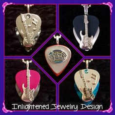 Passionate about Music? Show your love with Guitar pick jewelry  ~ Amber and Aqua Mirrored Strat Pendents with Crystal, bar note $28, Fushia Silver Metallic Strat pendant $28, Black Silver Metallic Strat Pendant $28, Grey Dark wooden Notes Pendant $26 ~ Purchase thru our website!