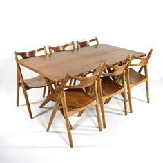 Hans J. Wegner AT303 table / CH29 Sawbuck chairs Carl Hansen & Son and Andreas Tuck Denmark 1950's
