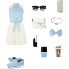Casually Dressy...periwinkle, white and black