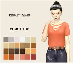 "nooboos: "" A recolour of @kismet-sims Comet Top • you'll need the mesh • Standalone • Recoloured in @magicalgirlsimmer's Naturally palette • 24 swatches Download:SFS """