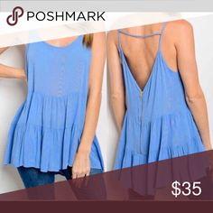 Selling this Beautiful Baby Blue Open Back Tunic on Poshmark! My username is: happyshack. #shopmycloset #poshmark #fashion #shopping #style #forsale #Tops