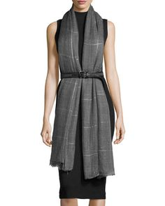 Long+Metallic+Check+Cashmere+Scarf,+Gray+by+Brunello+Cucinelli+at+Neiman+Marcus.