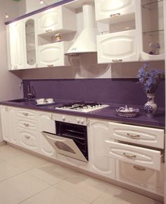 66 Best Ideas For Kitchen Cabinets Painted Purple Cupboards Purple Kitchen Cabinets, Kitchen Cabinet Design, Painting Kitchen Cabinets, Kitchen Paint, Modern Kitchen Design, White Cabinets, Kitchen Decor, Kitchen Color Trends, Kitchens
