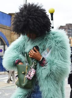 I was lusting after this coat the minute it appeared on Net-a-Porter, and of course the stunning Julia would be wearing it during fashion week. Photography: Phil Oh, Tommy Ton Natural Hair Styles, Curly Hair Styles, Green Fur, Mint Green, Tommy Ton, Street Style, Big Hair, Black Hair, Cool Hairstyles