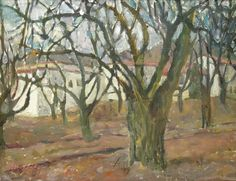 Lyuba Titovets Oil Painting Pecan Trees 1995 Retreat New Mexico Framed 16Hx20inW #Expressionism