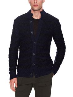 Chunky Button Mock Neck Sweater by John Varvatos Collection at Gilt