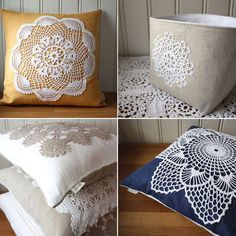 Doily pillows. I have tons of leftover doilies from buying for a previous project, have to try.