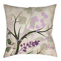Manual Woodworkers & Weavers Lavender and Sage Flourish Printed Throw Pillow Size: Purple Throw Pillows, Outdoor Throw Pillows, Accent Pillows, Decorative Throw Pillows, Floor Pillows, Sage Green Bedroom, Rental Home Decor, Pillow Room, Pillow Talk