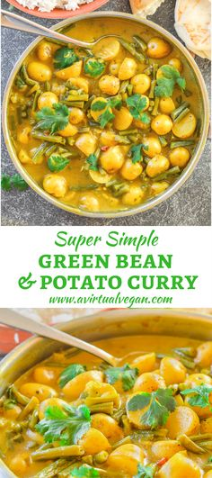 A really super simple Green Bean & Potato Curry that is budget friendly, only has 8 ingredients & needs no fancy schmancy spices. via @avirtualvegan