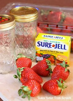 Strawberry Freezer Jam is homemade jam that is perfectly sweet, made in less than that you can freeze and enjoy for up to 1 year! Strawberry Jelly Recipes, Raspberry Freezer Jam, Strawberry Freezer Jam, Homemade Strawberry Jam, Sure Jell Strawberry Jam Recipe, Strawberry Jam With Pectin, Freezer Jam Recipes, Canning Recipes, Canning Tips