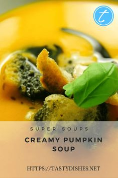 A very classic recipe - fast, tasty and simple. This soup is not only suitable for cold days, but also as a cold starter! Cream Of Pumpkin Soup, Clear Soup, Pumpkin Seed Oil, Cooking Spoon, Classic Recipe, Hot Soup, Saturated Fat, Tasty, Kitchens