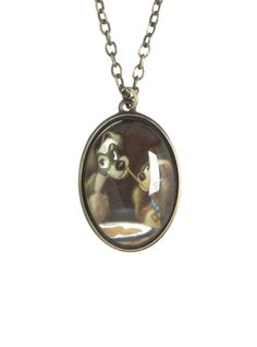 Chain necklace from Disney's Lady and the Tramp with spaghetti scene cameo pendant.