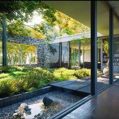Idea of atrium Atrium Garden, Indoor Garden, Interior Garden, Home Interior Design, Exterior Design, Interior And Exterior, Courtyard Design, Atrium Design, Modern Courtyard