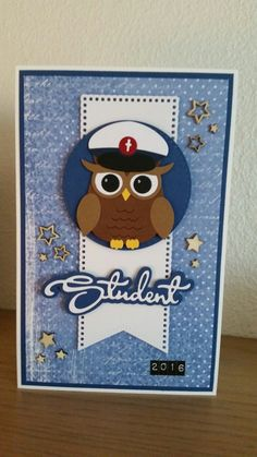 Owl Card, Boy Cards, Graduation, Projects To Try, Kids Rugs, Big Shot, Card Ideas, Scrapbooking, Diy