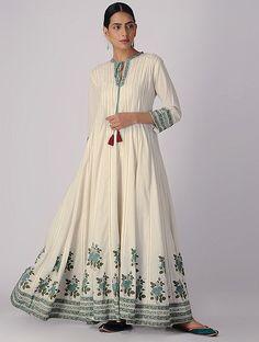 Ivory-Green Block-printed Organic Cotton Anarkali Kurta with Slip and Churidar (Set of Tunic Designs, Kurta Designs, Simple Dresses, Casual Dresses, Maxi Dresses, Fashion Dresses, Indian Dresses, Indian Outfits, Fashion Design Classes