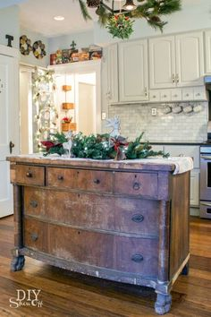 Love the use of old buffet.... maybe top with butcher block from Ikea - or marble remnent ~mla