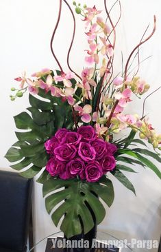 Roses and Pink Orchids Flowers Modern Flower Arrangements simple