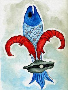 Fluer De Lis Fish Watercolor