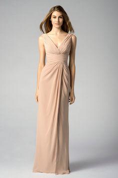 Champagne Chiffon V Neck Bridesmaid Dress#wishesbridal#