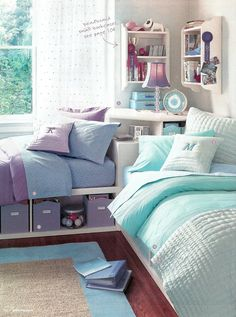 little inspirations sharing a room good idea to have storage beneath bed like this