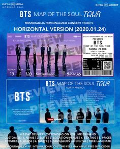 Digital Delivery- BTS : Map of the Soul Tour Memorabilia Concert Tickets - 24 Hours by KFAMMarket Bang Bang, Albums Bts, Bts Concert Tickets, Billet Concert, Poster Festival, K Pop, One Ticket, Ticket Design, Poster Art