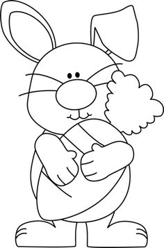 Black and White Bunny with a Giant Carrot