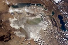 The Aral Sea, used to be the 4th largest lake in the world, now mostly dry.