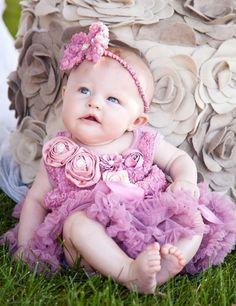 romantic dusty pink baby jurkje met roosjes Kirei Sui