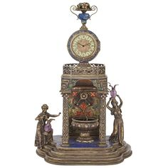 Viennese Silver, Enamel and Jeweled Clock  Late 19th century.