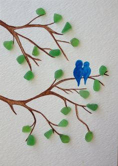 Blue love birds sitting on a branch with sea glass leaves, sea glass art, original watercolor, mixed media art