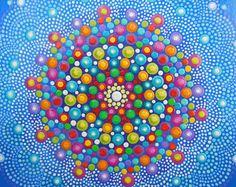 Punto Dotillism de pintura - caleidoscopio - Mandala - 23 x 23 cm - profundidad 2cm - marco madera blanco - obras de arte originales por Katharine Moore