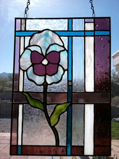 Stained Glass Pansy Panel/Suncatcher