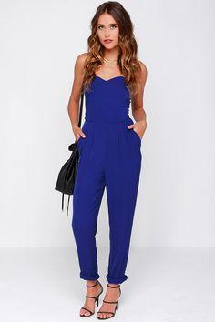 e33791ba61d4 Honor System Royal Blue Strapless Jumpsuit