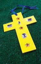 http://www.childrensministry.com/articles/jeweled-cross  Use a hole punch on the top of the cross and ribbon to create an Easter ornament kids can hang in a window at home or use as a bookmark.