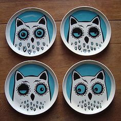 Owl Plate Box Of Four by Hannah Turner, the perfect gift for Explore more unique gifts in our curated marketplace. Ceramic Birds, Ceramic Plates, Decorative Plates, Sharpie Paint, Owl Always Love You, Owl House, Pottery Painting, Card Sketches, Tableware