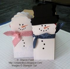 Stampin' Up! Two Tag Die Snowmen  by Sharon Field