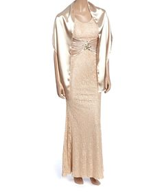 Look at this Nude Lace Gown & Shawl - Women on #zulily today!
