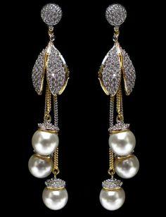 Glamorous Art Deco Dangle Earrings- formal occasion/ fancy drop earrings/ wedding earrings/ bridal earrings/ bridesmaid gifts/ gifts for her - Fine Jewelry Ideas Jewelry Design Earrings, Gold Earrings Designs, Ear Jewelry, Designer Earrings, Jewelry Accessories, Fine Jewelry, Jhumka Designs, Macrame Earrings, Designer Jewellery
