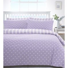 Truro Lilac Dotty and Striped Reversible Duvet Cover