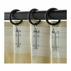 IKEA - SYRLIG, Curtain ring with clip and hook, silver color, You can hang your curtains with either combination - rings with clips or rings with hooks. 10 clips with hooks and 10 hooks. RIKTIG curtain hooks are sold separately. Ikea Curtains, Drop Cloth Curtains, Black Curtains, Hanging Curtains, Kitchen Curtains, Window Curtains, Sheets To Curtains, How To Hang Curtains, Roman Curtains