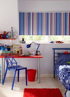 Kids Bedroom Blinds vibrant blue accents can bright up any room. mix with wood tones