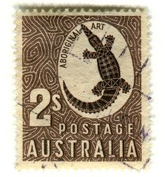 Australian Stamp, 1948. Aboriginal Rock Carving, addition to Zoological Series 2 shilling.