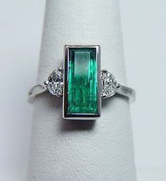 Art Deco Platinum, Emerald & Diamond Ring #jeweledup #emeraldjewelry