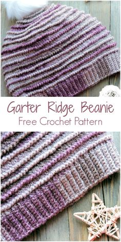 Garter Ridge Beanie CrochetKim Free Crochet Pattern I fell in love with this yarn when I first saw it at Wool Warehouse. It has such a fabulous heathery look. I finished the beanie in only one day because I had to see Crochet Beanie Pattern, Knit Or Crochet, Crochet Stitches, Crochet Baby, Crocheted Hats, Knit Hats, Crochet Dolls, Beanie Hats, Crochet Crafts